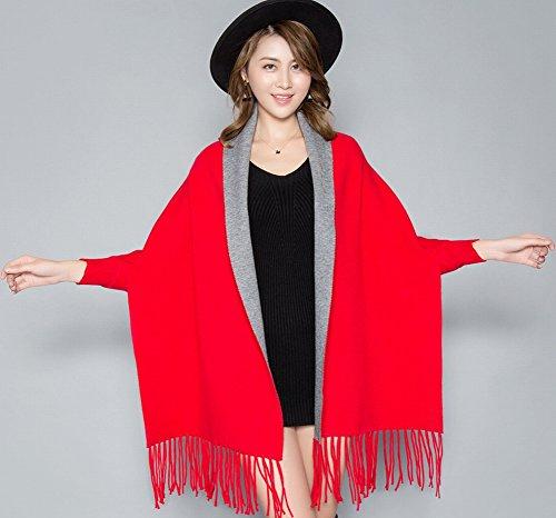 Bufanda Abrigo de Invierno Mujer Abrigo Batskin Capote Chal Cálido Y Caído Imitación Cachemira Capa con Mangas , rojo