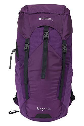 Mountain Warehouse Ridge 35 L Rucksack - Hydro-kompatibel, Regenschutz, Flaschentasche, verstellbare Kompressionsriemen, Ripstop - Ideal für Camping, Wandern, Outdoor Violett Einheitsgröße