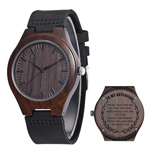 HAN XIU Reloj de Madera Grabado Personalizado para Hombres Relojes de Madera Minimalistas livianos Hechos a Mano para Marido Novio papá,To my Boyfriend