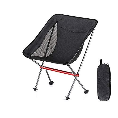 Silla Plegable Camping Silla Portátil Al Aire Libre con Bolsa De Transporte, 26 * 22in, Ideal para Jardín, Playa, Pesca, Camping, Viajes, Senderismo (Color : Black)