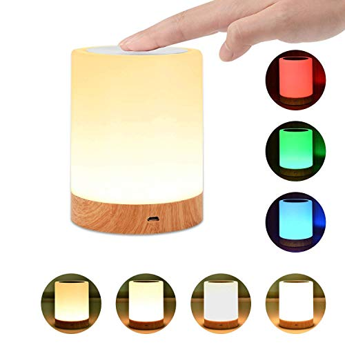 Night Light, UNIFUN Touch Lamp for Bedrooms Living Room Portable Table Bedside Lamps with Rechargeable Internal Battery Dimmable 2800K-3100K Warm White Light & Color Changing RGB