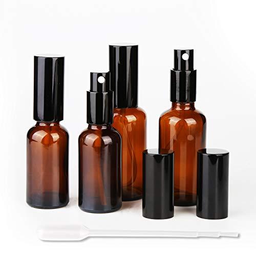 Bottiglie di Vetro Ambrato 30ml 50ml Flacone Spray di Bottiglie Da Viaggio Contenitore Riutilizzabile per Spray, Cosmetici, Aromaterapia, Medicina, Olio Essenziale, Profumo, Farmacia - 4 Pcs