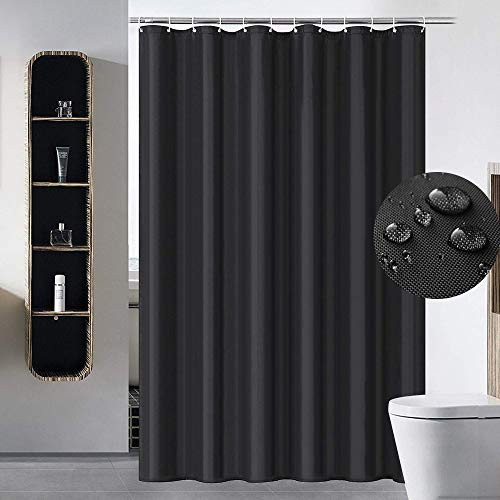 VIERUODIS Black Fabric Shower Curtains Liner Hotel Quality, Machine Washable, PVC Free, Waterproof 72 x 72 Inch for Bathroom Long