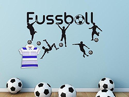GRAZDesign Wandtattoo Garderobe 5 Haken Wandhaken Deko Fußball Ball Jugendzimmer (73x45cm / 070 Schwarz/Haken 5Stück)