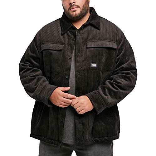 Urban Classics Herren Corduroy Shirt Jacket Jacken, Black, 5XL