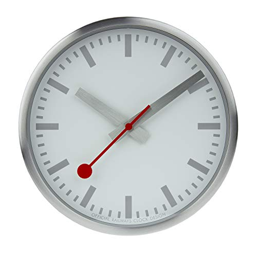 Mondaine Wanduhr - Silber Bahnhofsuhr - Edelstahl, A990.Clock.17SBV, 25 cm
