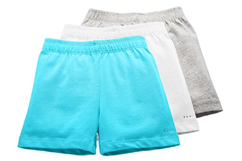 Sparkle Farms Girls Under Dress Shorts, 3-Pack, Aqua Blue/White/Gray, Size 9/10