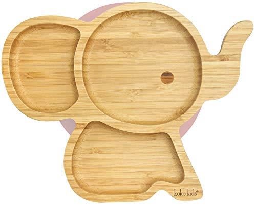 Elefanten Saugnapfplatte, aus natürlichem Bambus ~ Baby- und Kleinkind-Fütterungsplatte mit starkem Saugring (Rosa)