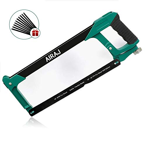 AIRAJ 12 in Hacksaw Frame Adjustable-tension Hand Saw for Steel Pipe Cutting, Carpentry Decoration, Home Emergency, Wood Flower, Multifunctional Saw with Rubber Anti-skid Handle