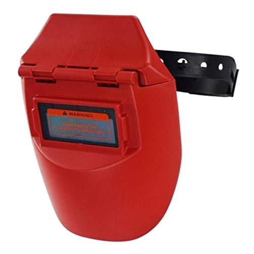 Almencla Careta Soldar Automatica Fotoeléctrica Solar de Medio Casco/Protector Facial de Seguridad de Soldadura - Rojo