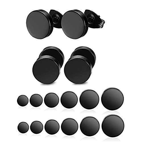 Yadoca 12 Pares Acero Inoxidable Pendientes Para hombres y Mujeres Negro Redondos 3-8mm Set Pendientes