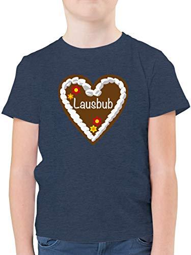 Oktoberfest & Wiesn Kind - Lebkuchenherz Lausbub - 152 (12/13 Jahre) - Dunkelblau Meliert - Trachten t Shirt Jungen - F130K - Kinder Tshirts und T-Shirt für Jungen