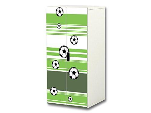 Stikkipix Fußball Aufkleber-Set | SC32 | passend für den Kinderzimmer Schrank STUVA von IKEA (Korpus: 60 x 128 cm) | Möbel Nicht Inklusive