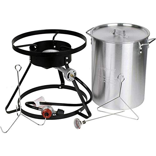 Brands Republic Propane Turkey Fryer with Cooking Stand Gas Single Burner Aluminum Pot Hose Probe Thermometer and Poultry Hanging Accessories Includes Cajun Injector