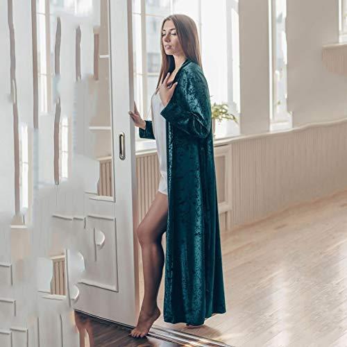 WALNUT Terciopelo de Punto Ropa para Mujer para Mujeres Elegantes Tops de sueño Fabricantes Verde Llanura Larga Robe Larga Mujer Albornoz Femenino Cálido Invierno (Size : Large)