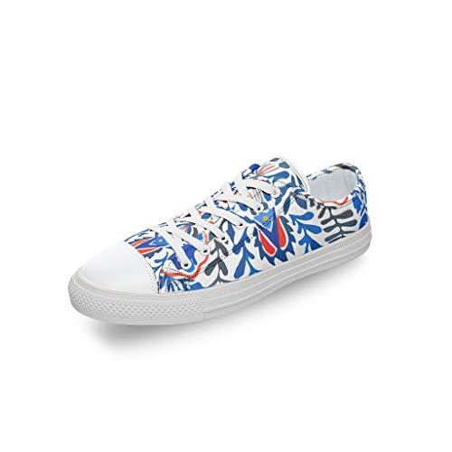 RNGIAN Damen Blumen-Mandala-Schuhe Segeltuch Slip On Atmungsaktiv Baseballschuh Workout für Frauen, Weiß - weiß - Größe: 45 EU