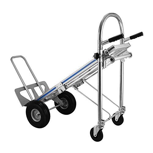 BuoQua Sackkarren 3 IN 1 Aluminium Treppenrutsche 500KG Klappbar Transportkarre mit Kunststoff Rädern Stapelkarre(500KG 3 IN 1)