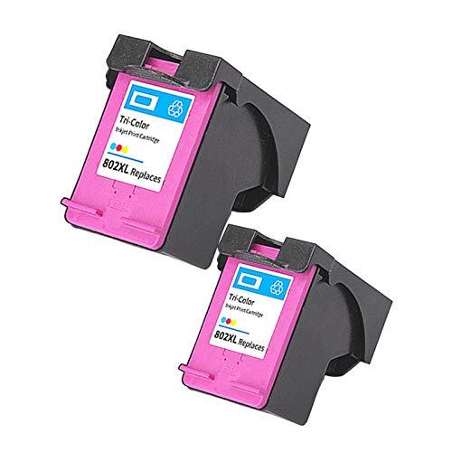 SXCD Cartuchos de tinta 802XL para HP, repuesto para HP Deskjet 1000 1517 2000 3055A ENVY 4500 5539 OfficeJet 2620 4639 Impresora de inyección de tinta de alto rendimiento negro tricolor 2 ~ color
