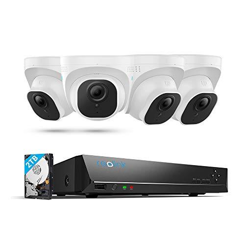Reolink 4K Überwachungskamera Set, 4X 8MP PoE IP Kameras Überwachungssystem mit 8CH 2TB Festplatte NVR für 24/7 Videoüberwachung, 30 Meter Nachtsicht mit Audio, IP66 Wetterfest, RLK8-800D4