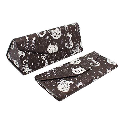 REAL SIC Halloween/Horror Glasses Case - Eco Leather Magnetic Folding Hard Case - Creepy Cute Occult Theme Designer Foldable Case for Eyeglasses, Sunglasses & Reading Glasses (Halloween Cats)