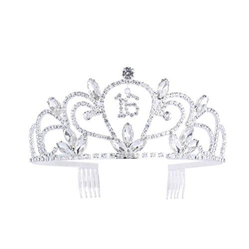 Frcolor Krone Mädchen Tiara mit Strass für 16. Geburtstags Geschenk Festzug Prom Party Luxus Strass Schmuck