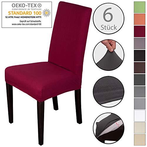 Staboos Stuhlhussen 6er Set aus 96% Baumwolle - Bi-elastische Stretch Stuhlüberzüge - Universal Stuhlbezug - Stuhlabdeckung waschbar & bügelfrei, Dunkelrot