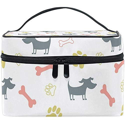 Reistas met ritssluiting, schattige hond en make-uptas uit botten, multifunctioneel, draagbaar
