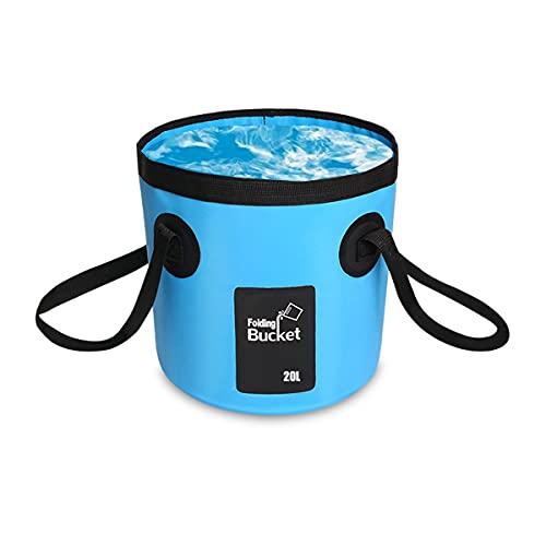 Cubo de agua plegable de AutoM, portador de agua, portátil, plegable, contenedor de almacenamiento para camping, para viajes, senderismo, pesca, canotaje, jardinería, lavado de coche (azul 20L)