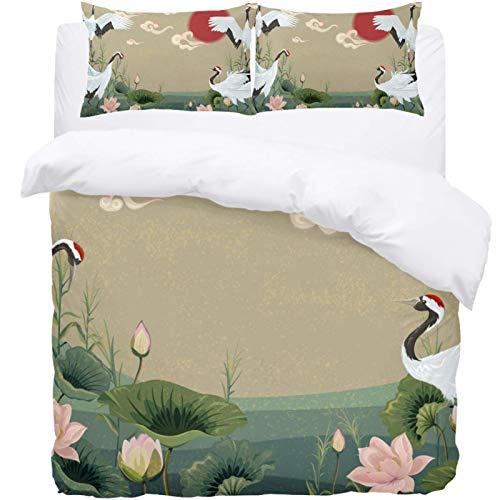 TIZORAX Double Bedding Duvet Cover Set - Sunset Japanese Cranes In Lotus Pond 3 Piece Microfiber Comforter Set Quilt Cover and 2 Pillow Shams for Men Women