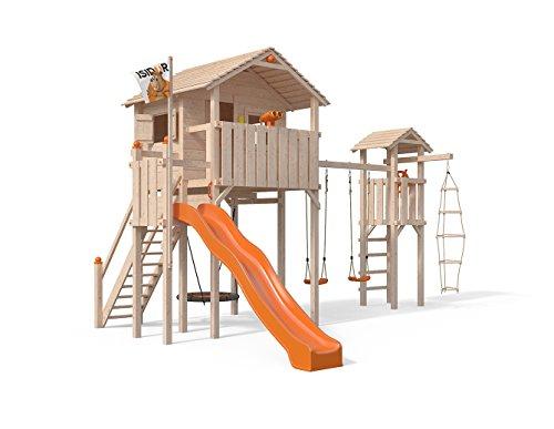 ISIDOR Domizilio Spielturm mit Turm Schaukelanbau, inkl. Sicherheitstreppe, XXL Rutsche, Balkon und Nestschaukel auf bis zu 2,00m Podesthöhe (Orange)
