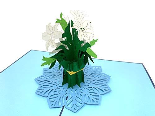 PrimePopUp | Weiße Lilien mit Schleife | 3D Pop Up Grußkarte | Gute Besserung Karte | Viel Glück | Alles Gute | Gesundheit | Erfolg | Geburtstagskarte für Geldgeschenk oder als Gutschein