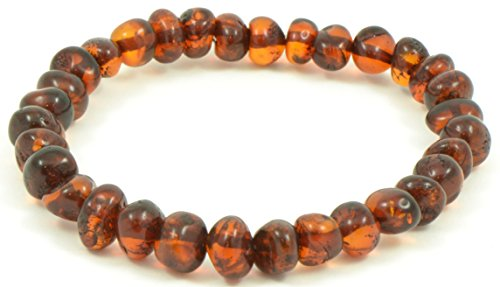 Baltic Amber Adult Bracelet – Cognac Color- 7 Inches Long – Elastic Band: One Size Fits All - Anti-Inflammatory - Pain Relief With No Side Effects - Certified Baltic Amber