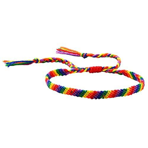 Rainbow LGBT pulsera ajustable hecha a mano orgullo trenzado pulsera para gay y lesbiana arco iris orgullo pulsera regalos