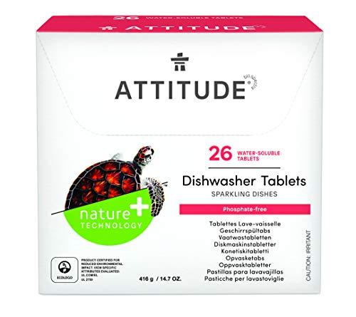 ATTITUDE Pastillas para lavavajillas biodegradables y sin fosfatos, 26 unidades