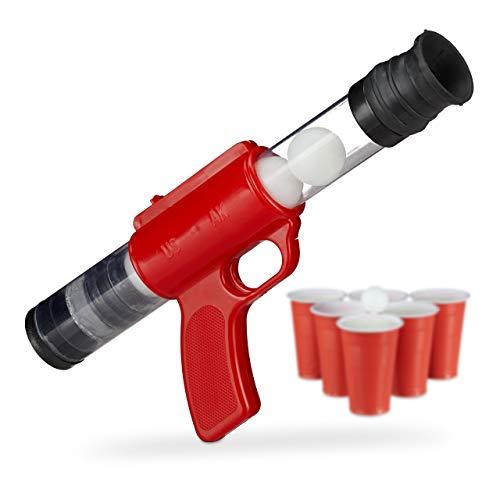 Relaxdays Ballpistole Beer Pong, lustige Spielzeugpistole für In- & Outdoor, Druckluftspielzeug, 5 Bälle Ø: 3 cm, rot