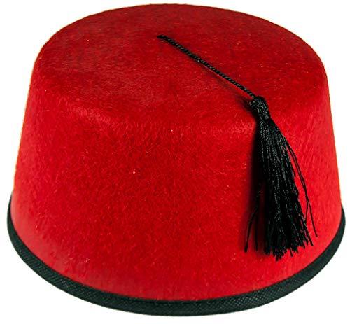 Unisex Fez aus rotem Filz mit schwarzer Quaste für Kostüm - Rot, Einheitsgröße