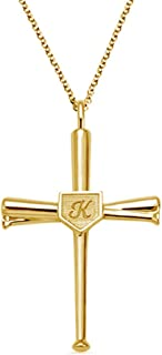Customized Number Initial Baseball Bats Cross Pendant Sterling Silver Necklaces