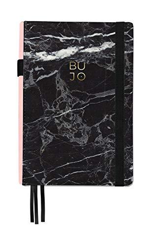 Libreta Bullet Journal Marblack/Libreta Punteada- 14,5 x 21 cm- Encuadernación Suisse- Tapa Dura en Tela- 188 Páginas en Papel Premium (negro)