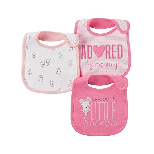 Carter's Just One You Baby Girls' 3 Pack Bib Set (Grandmas Little Snacker Pink)