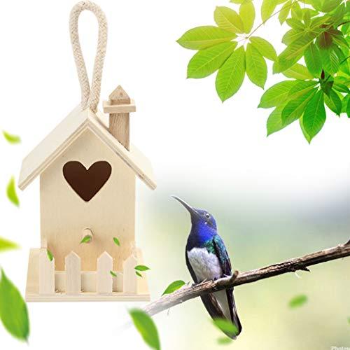 Hahuha - Casetta per uccelli in legno DOX, in legno, da appendere, decorazione da giardino in legno, artigianato e cucito