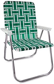 Lawn Chair USA Aluminum Webbed Chair (Deluxe, Green and White with White Arms)