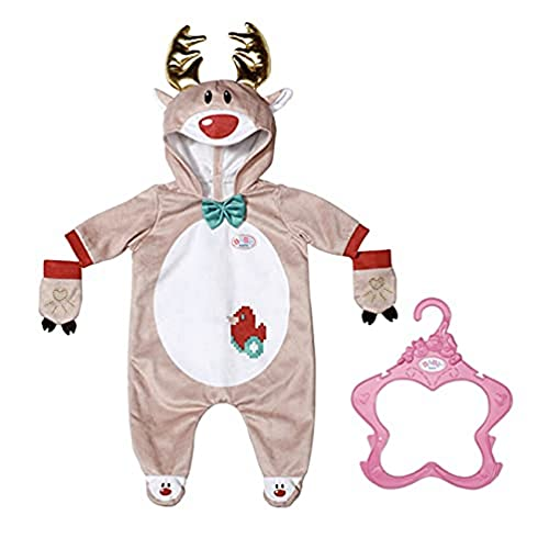 Zapf Creation 831700 BABY born Rentier Onesie 43 cm - Puppenkleidung Einteiler mit Rentiergeweih und Handschuhen