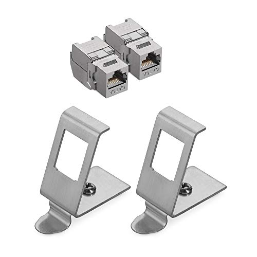 kwmobile Keystone Modul und Hutschienenadapter Set - passt auf genormte Hutschiene - 2X Cat 6A Keystone Modul 2X Halter für Hutschiene - werkzeuglos