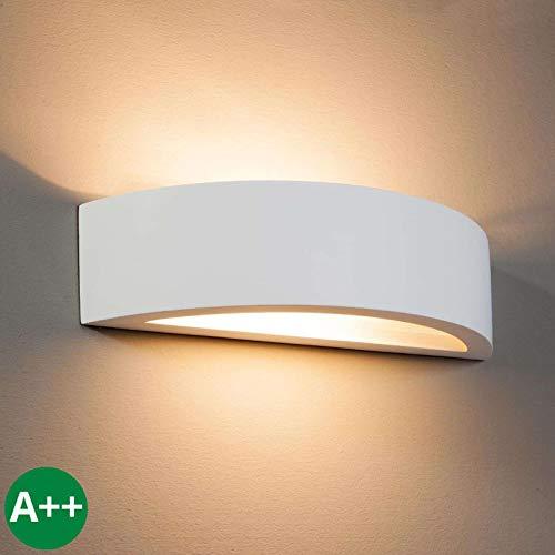 Lindby Wandleuchte, Wandlampe Innen 'Konstantin' dimmbar (Modern) in Weiß aus Gips/Ton u.a. für Wohnzimmer & Esszimmer (1 flammig, E14, A++) - Wandstrahler, Wandbeleuchtung Schlafzimmer /