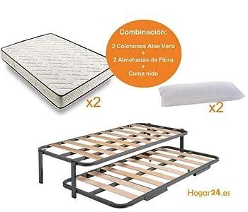 HOGAR24 ES.es-Cama Nido Estructura Reforzada Doble Barra Superior (4 Patas) + 2 Flexitex + 2 Almohadas de Fibra, 90x190cm