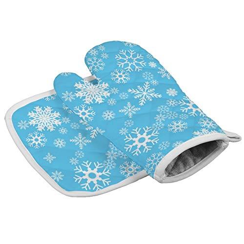 happygoluck1y Schnittmuster nahtlose Schneeflocke niedliche Ofenhandschuhe und Topflappen, 2 Stück, Weihnachts-Ofenhandschuhe, Ofenhandschuhe für Küche, Backen, Grillen