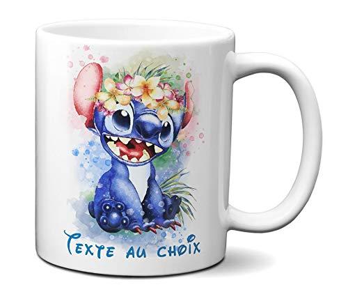 Idcase MUG Tasse en céramique café - Made in France -Personnalisable avec Texte aux Choix - Livraison Express Aquarelle Pastel Ohana Stitch