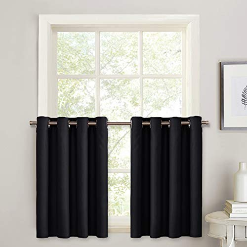 PONY DANCE 36 Length Curtain Valance - Short Blackout Tiers Set for Thermal Insulated Grommet Kitchen Panels Black Out for Small Windows, 52 W by 36 L, Black, Double Panels
