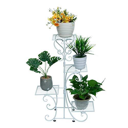 Soporte para Plantas de Hierro, Soporte de Madera para Plantas Estantería Escalera para Macetas con 4, para Exterior Interior Jardín Terraza,Blanco