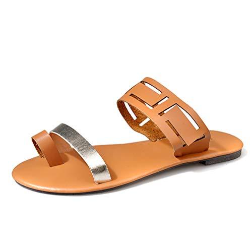 Tomwell Sandalen Damen Bohemia Sandaletten Sommer Schuhe Knöchelriemchen Sommersandalen Plateau Sandaletten Krawatte Sandalen C Gelb 35 EU